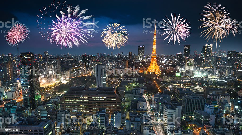 Tokyo skyline with the Tokyo Tower for the new year stock photo