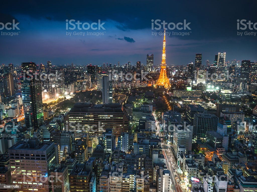 Tokyo skyline with the Tokyo Tower on the night stock photo