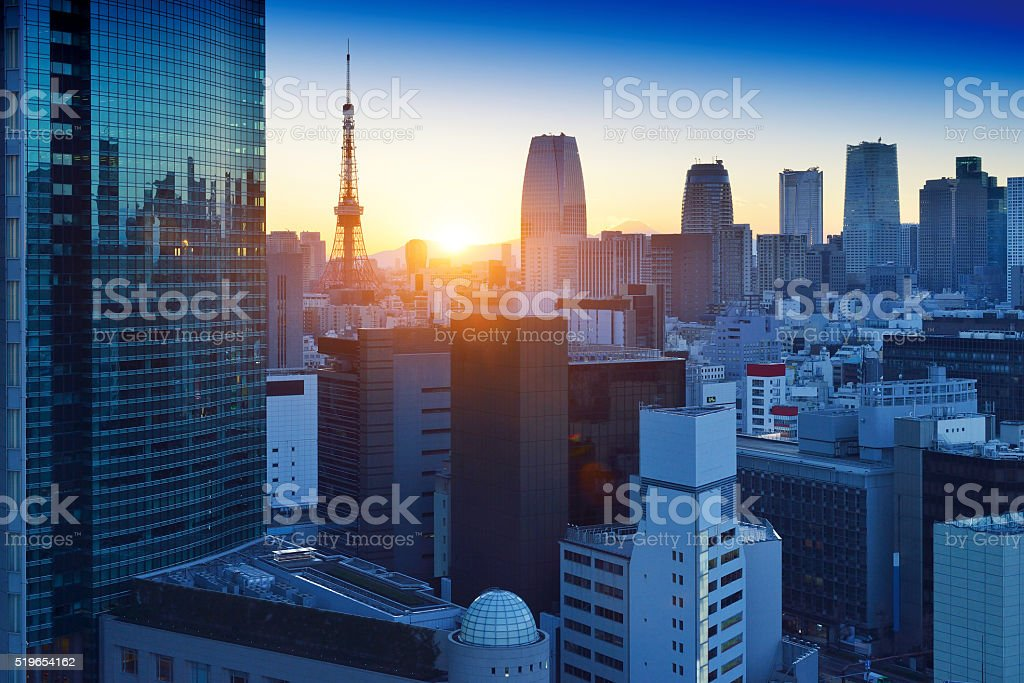 Tokyo Skyscraper and Tokyo Tower stock photo