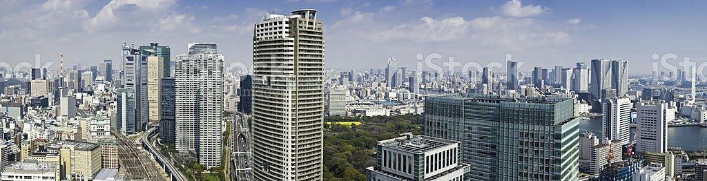 Tokyo skyscraper skyline panorama Ginza Shiodome Shimbashi downtown cityscape Japan stock photo