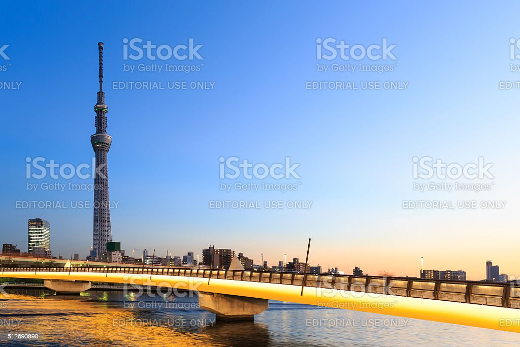 Tokyo skytree and bridge at twilight stock photo