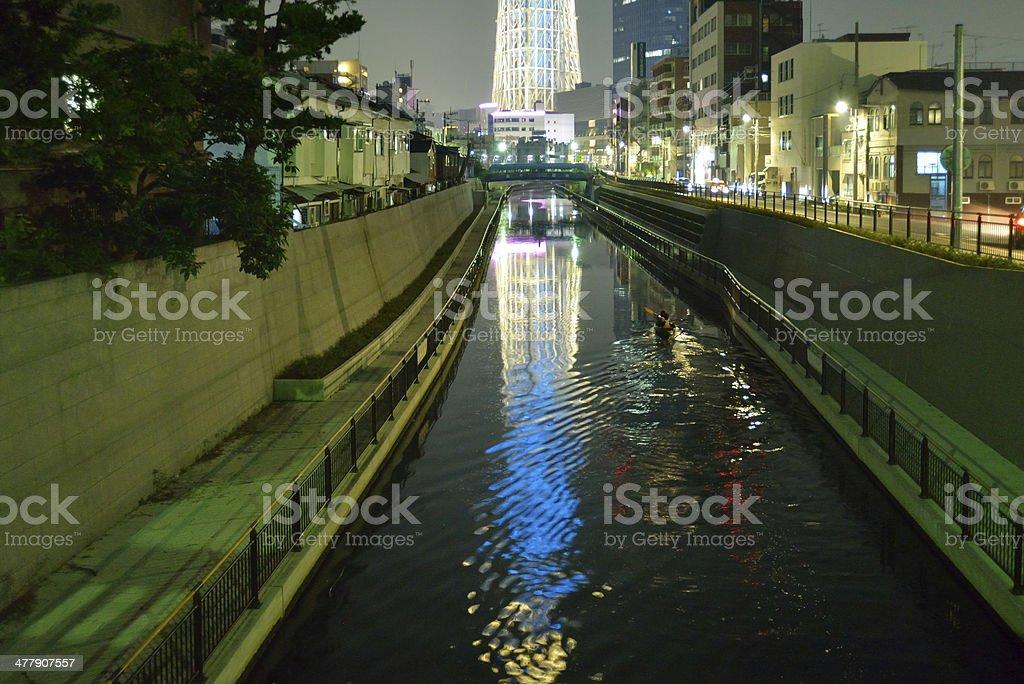 Tokyo Skytree and canoe royalty-free stock photo