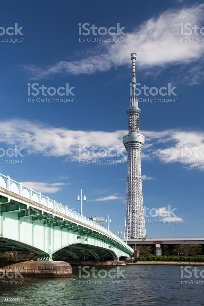 Tokyo Skytree and Sumida river stock photo