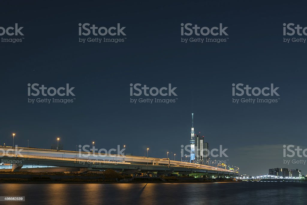 Tokyo Skytree at night stock photo
