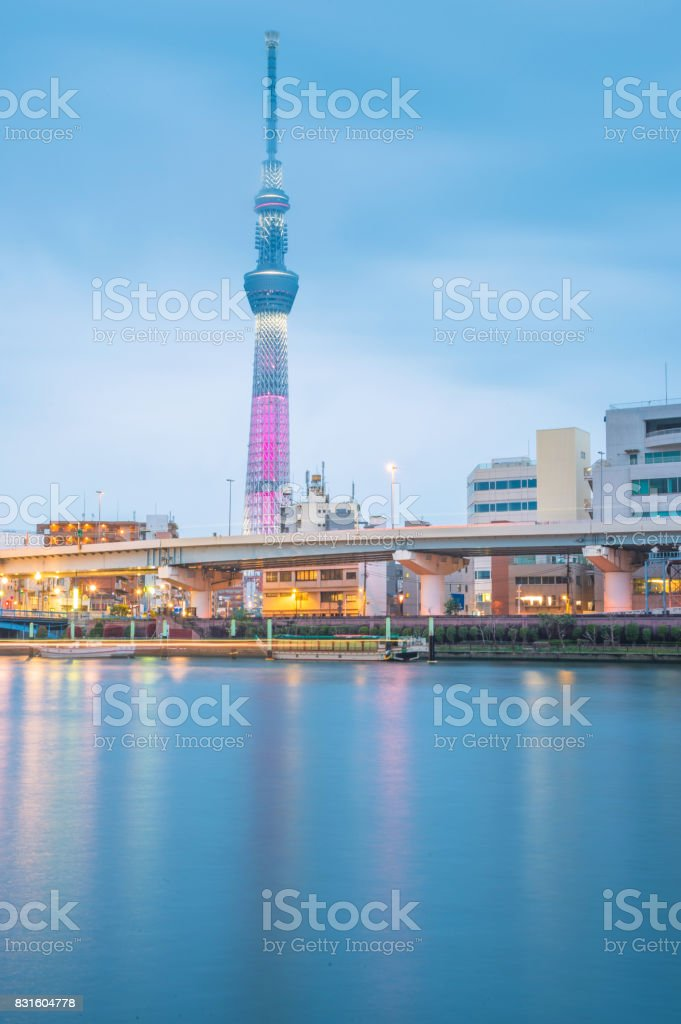 Tokyo skytree illumination at twilight stock photo