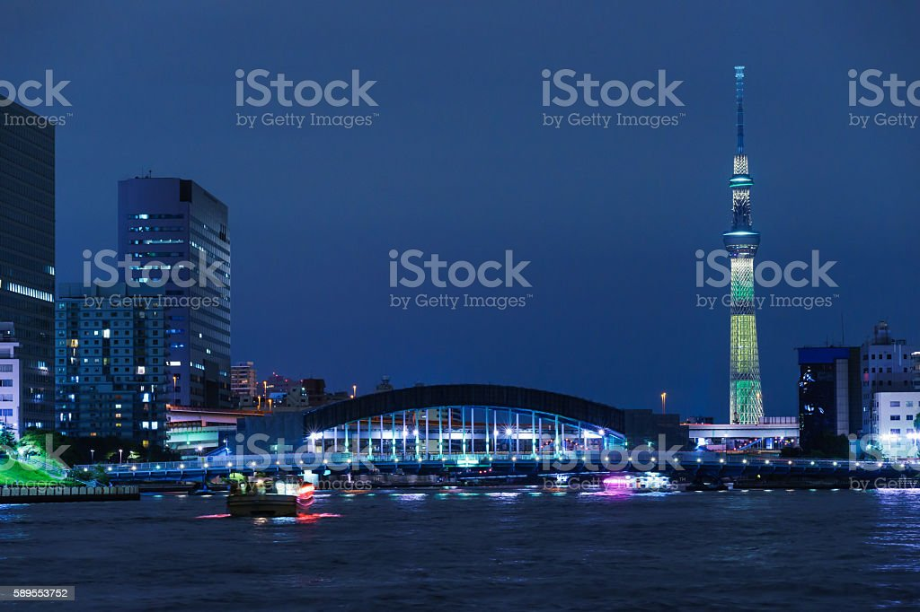 Tokyo Skytree Special Lighting and House Boat stock photo