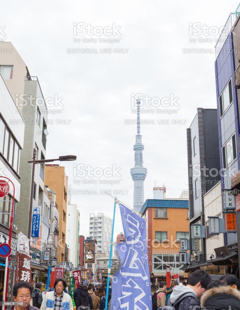 Tokyo skytree view from Nakamise market near Hozomon, Treasure house gate of Sensoji temple February 18, 2017 in Tokyo, Japan stock photo