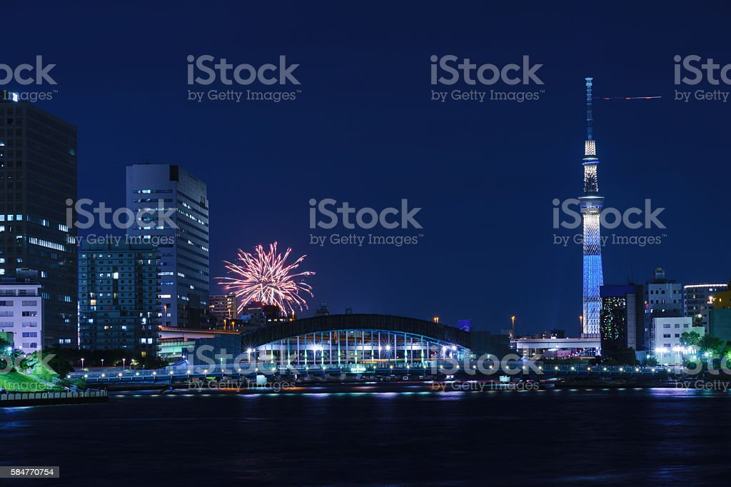 Tokyo Skytree with Fireworks stock photo