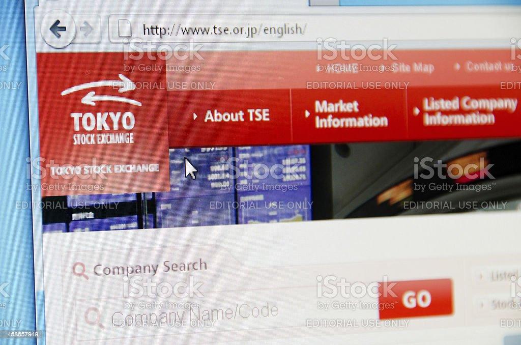Tokyo Stock Exchange website stock photo