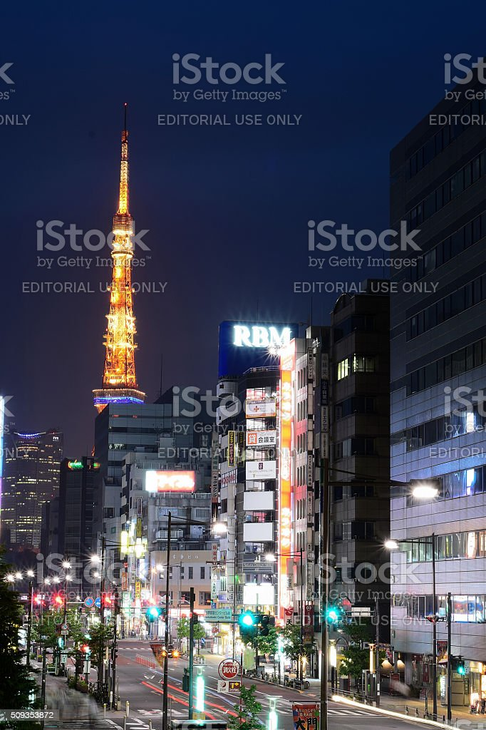 Tokyo Street at night Vertical frame stock photo