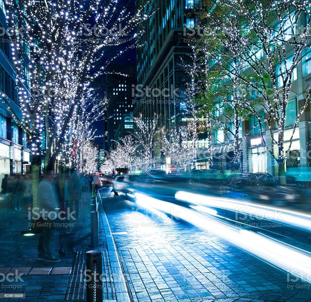Tokyo Street illuminations in Christmas season stock photo