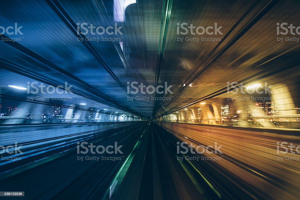 Tokyo subway tracks stock photo