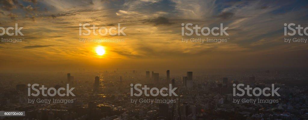 Tokyo sunset aerial panoramic view stock photo