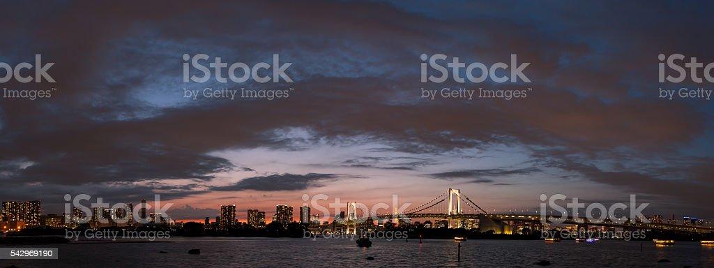 Tokyo sunset panoramic stock photo
