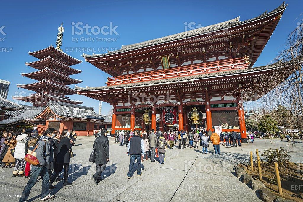 Tokyo tourists at Senso-ji Temple Five Storey Pagoda Asakusa Japan royalty-free stock photo