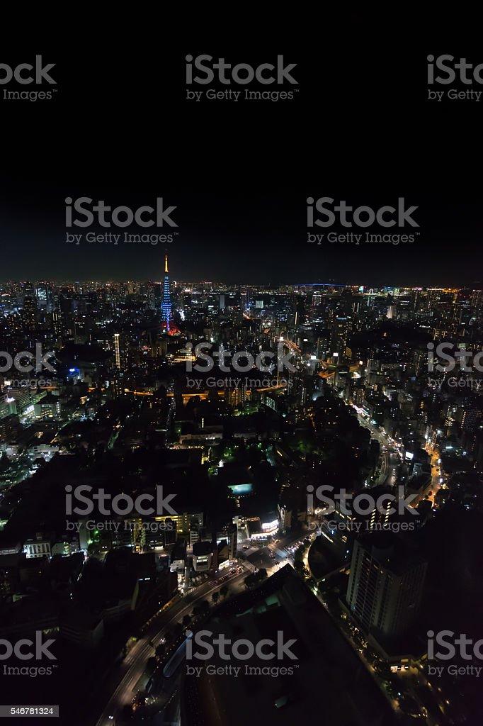 Tokyo Tower and Rainbow Bridge night view photo libre de droits