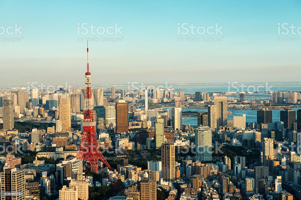 Tokyo Tower and skyline at dusk from Roppongi Hills stock photo