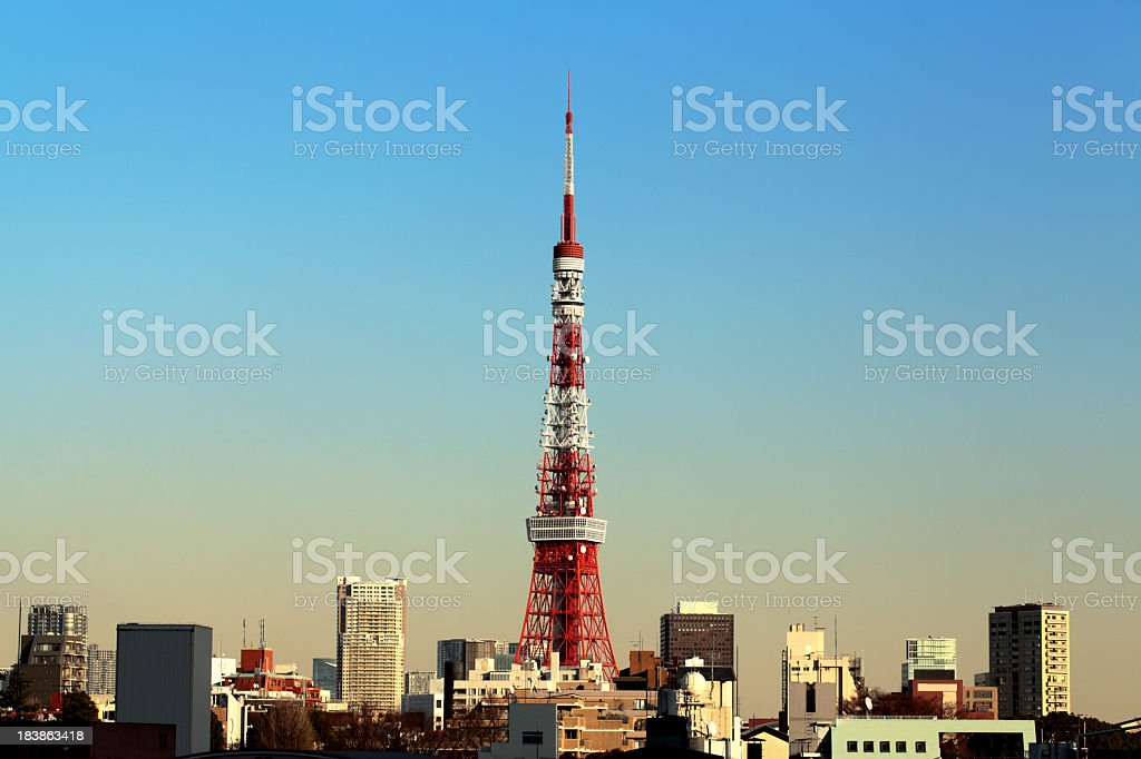 Tokyo tower and skyline at sunset stock photo