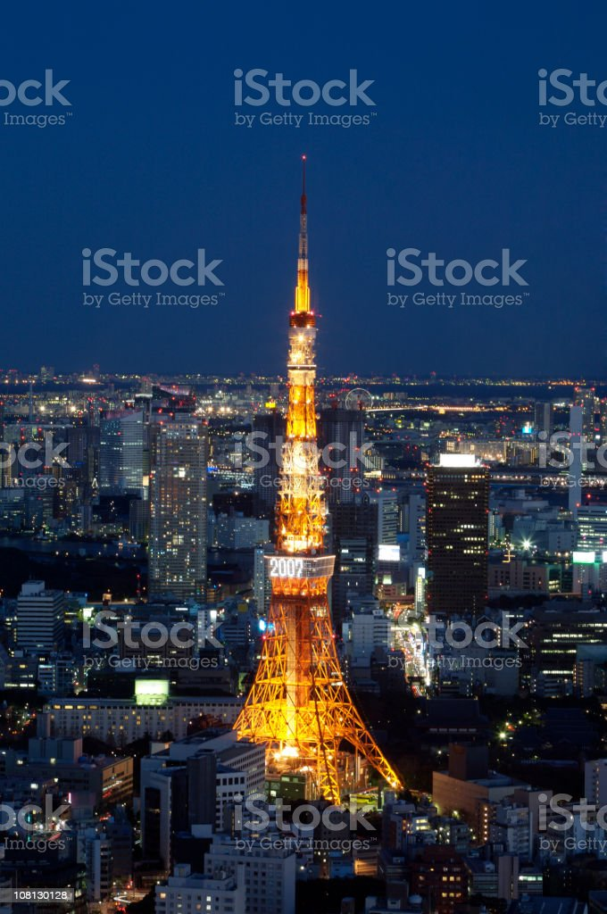 Tokyo Tower and Skyline Lit Up at Night royalty-free stock photo