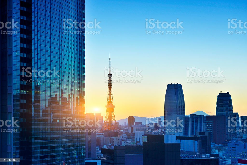 Tokyo Tower and Skyscraper stock photo