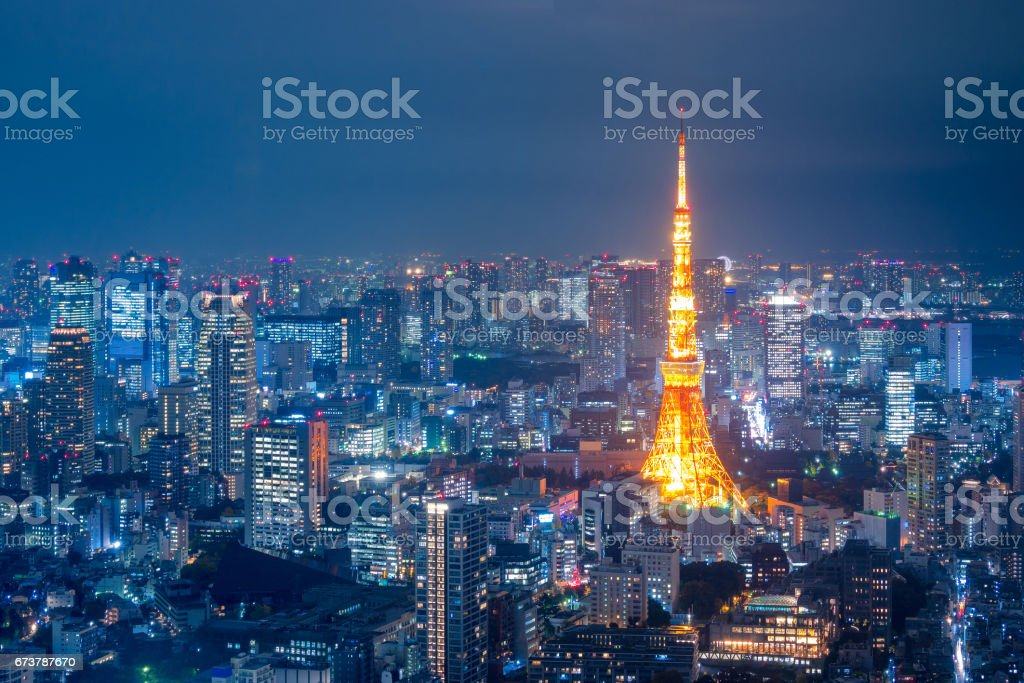 Tokyo tower and Tokyo cityscape view from Roppongi Hills at night,Japan stock photo