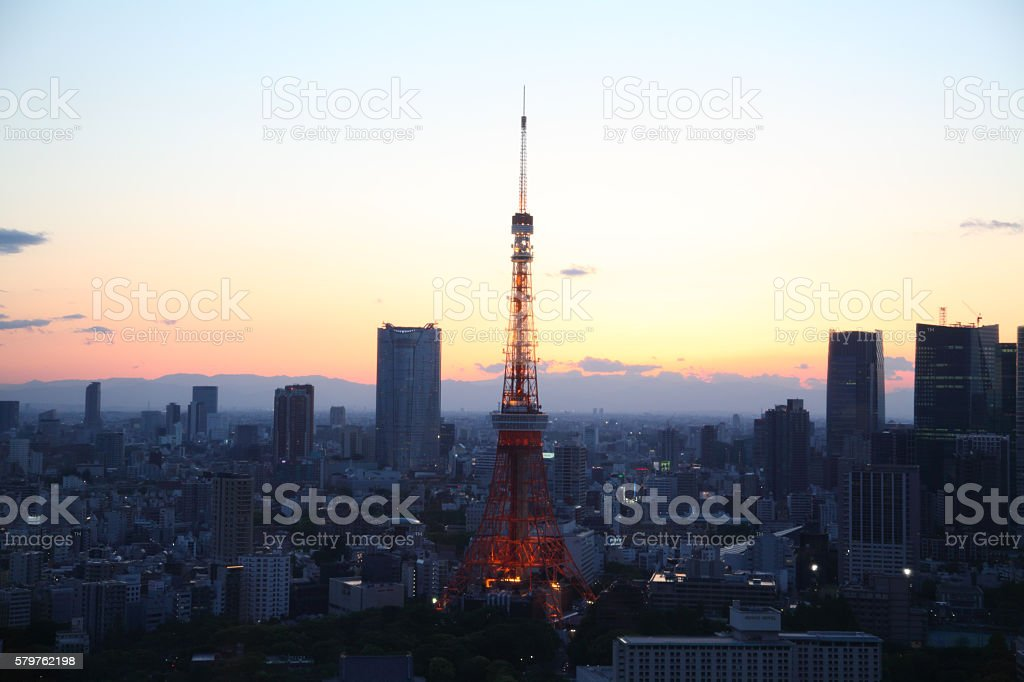 Tokyo Tower at dusk stock photo