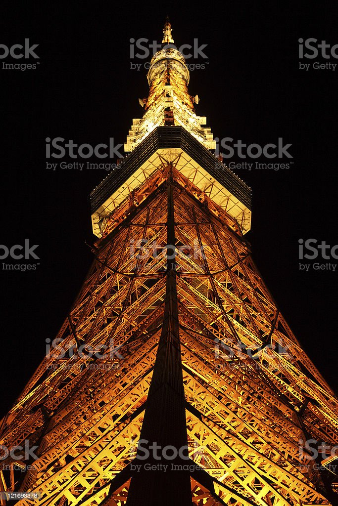 Tokyo Tower at night royalty-free stock photo