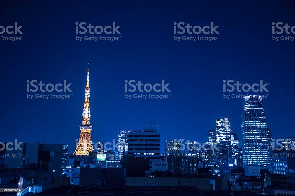 도쿄 타워 야간에만 royalty-free 스톡 사진