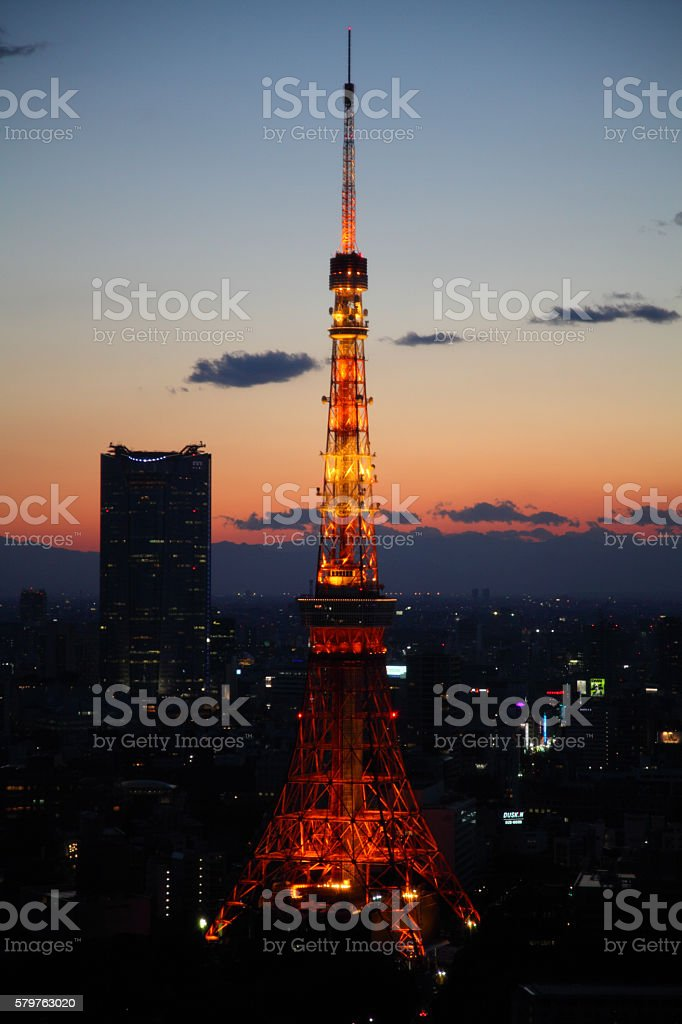 Tokyo Tower at night stock photo