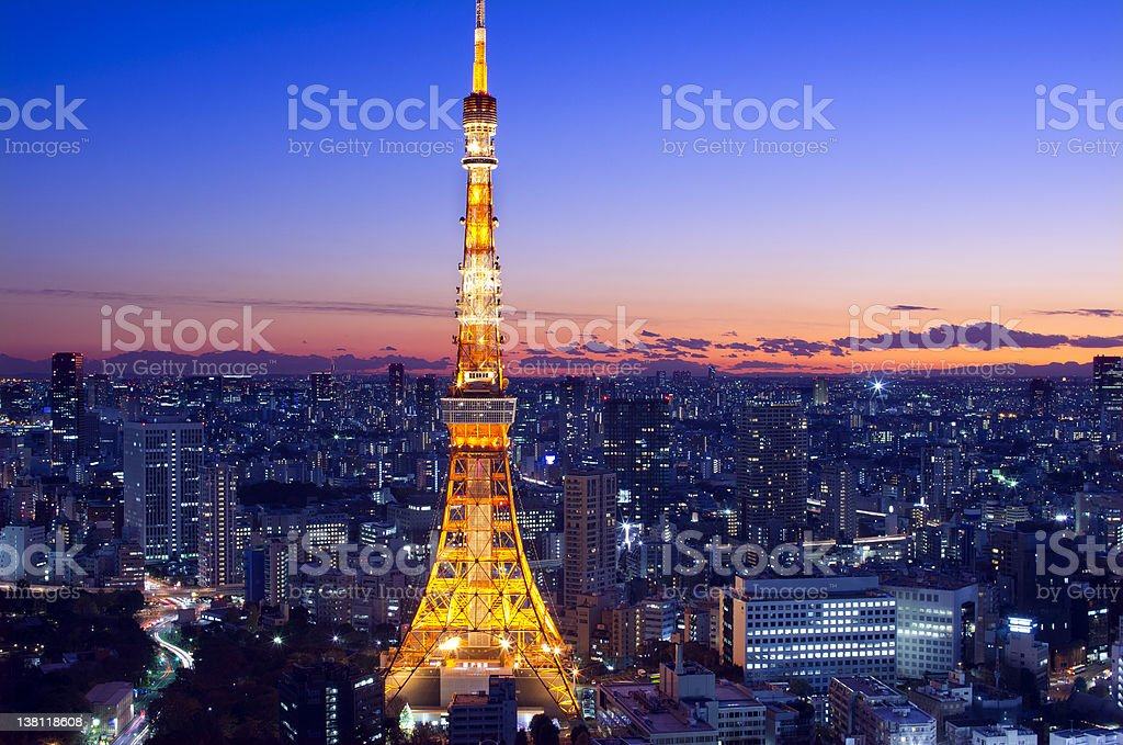 Tokyo Tower at Twilight royalty-free stock photo
