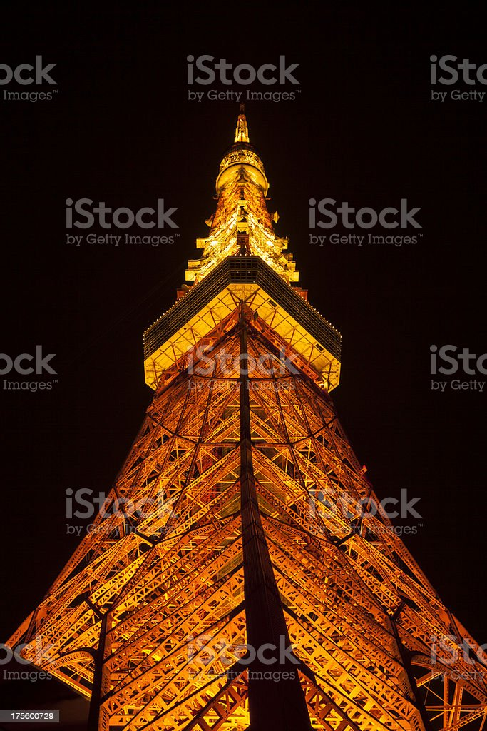 Tokyo Tower by Night, Japan royalty-free stock photo