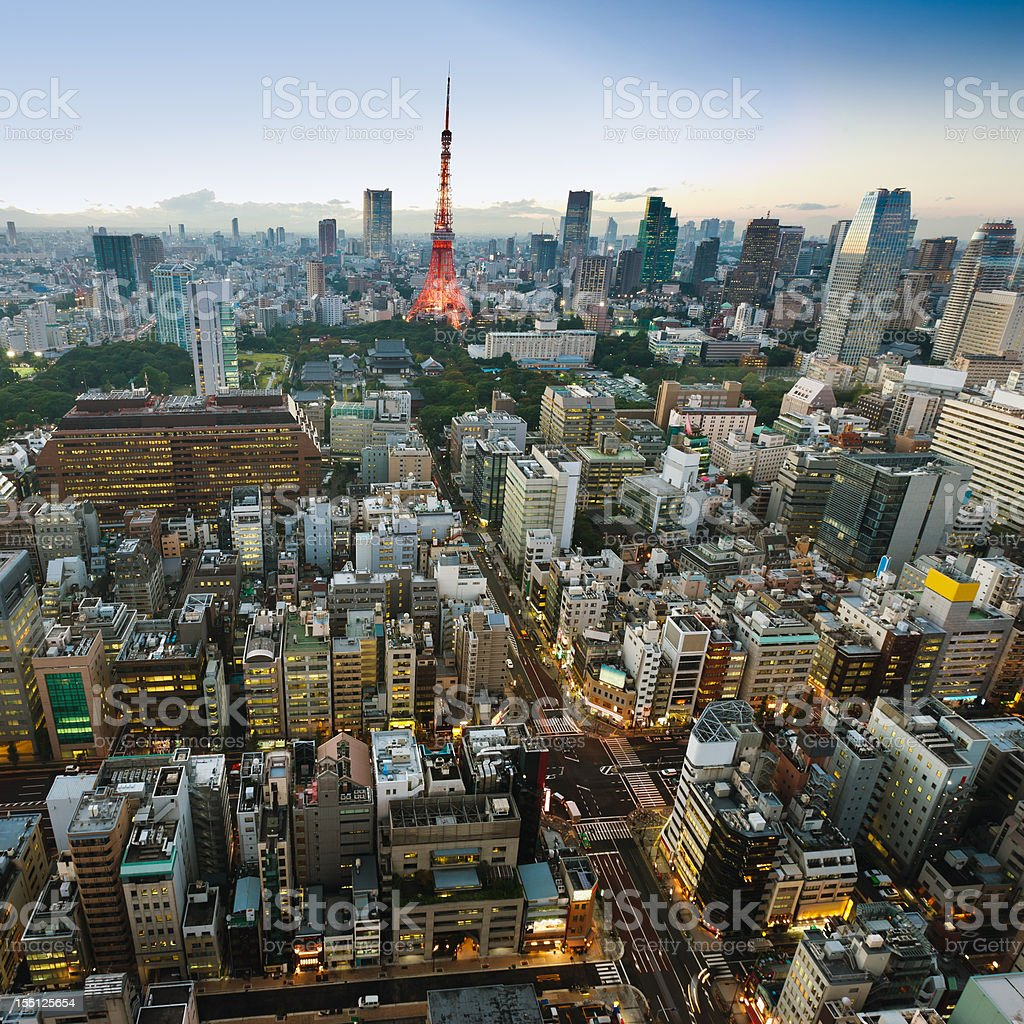 Tokyo Tower City Scene at Night from Above stock photo