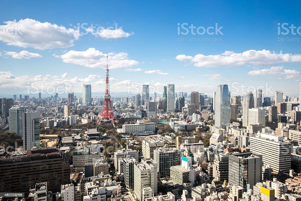 Tokyo Tower cityscape Japan stock photo