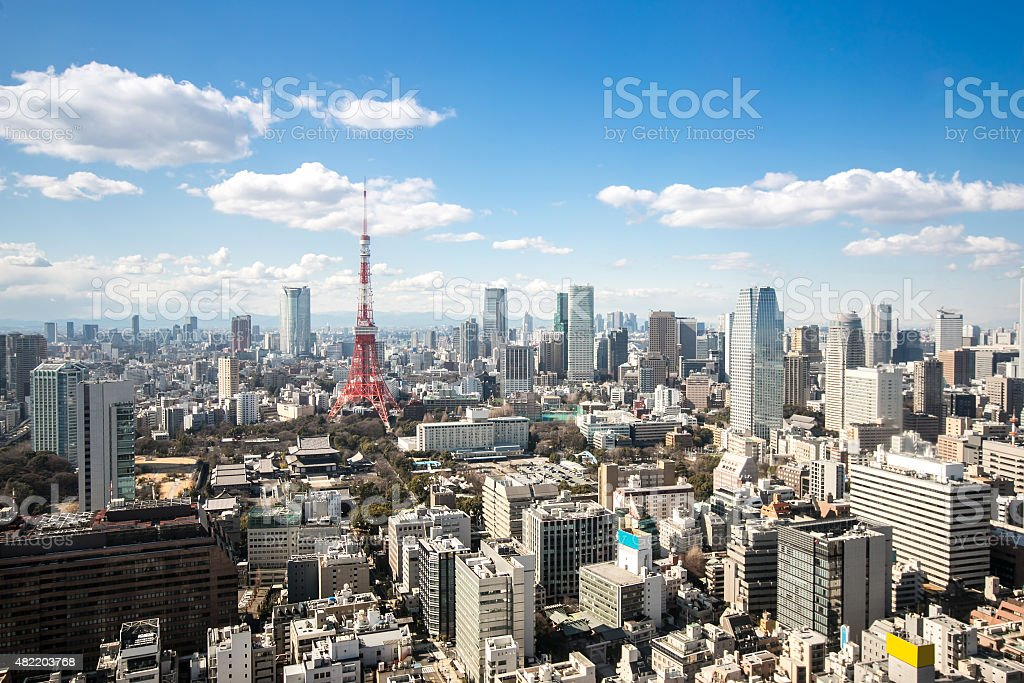 Tokyo Tower cityscape Japan stock photo
