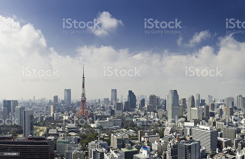 Tokyo Tower downtown skyscraper landmark capital city highrise panorama Japan stock photo