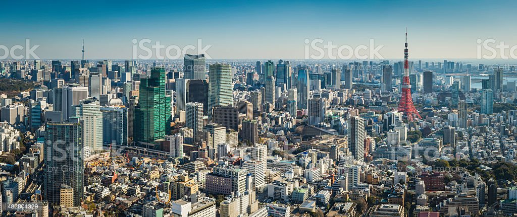Tokyo Tower downtown skyscrapers aerial panorama over crowded cityscape Japan stock photo