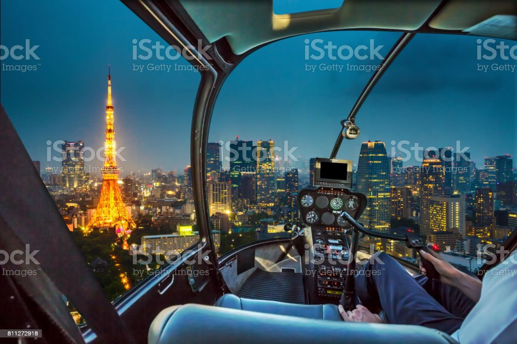 Tokyo Tower Helicopter stock photo