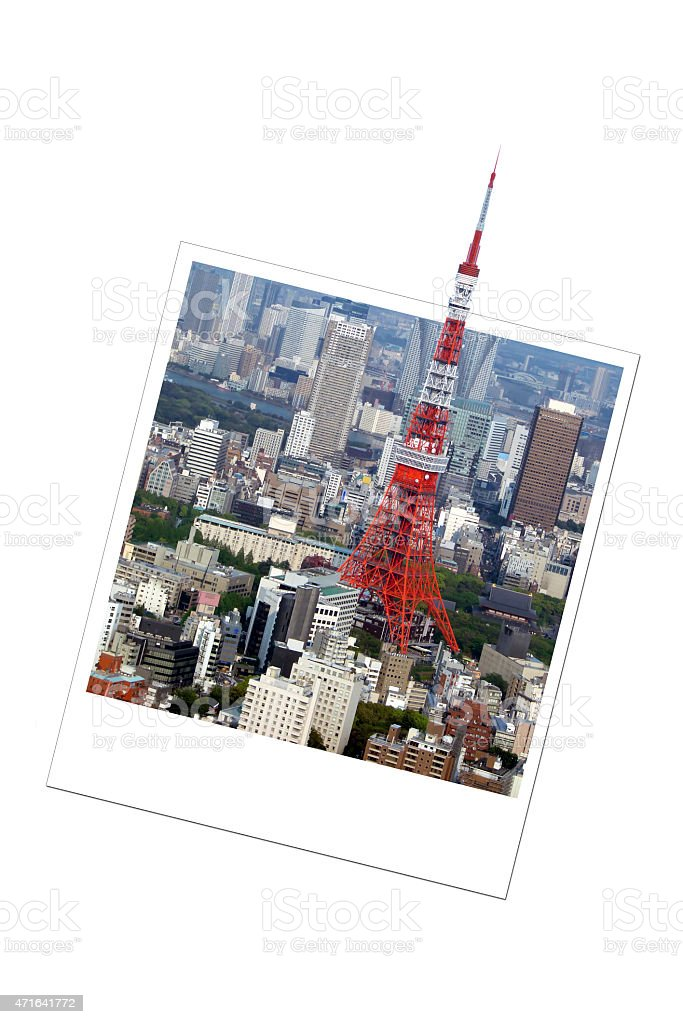 Tokyo tower in Japan, in an instant photo frame stock photo