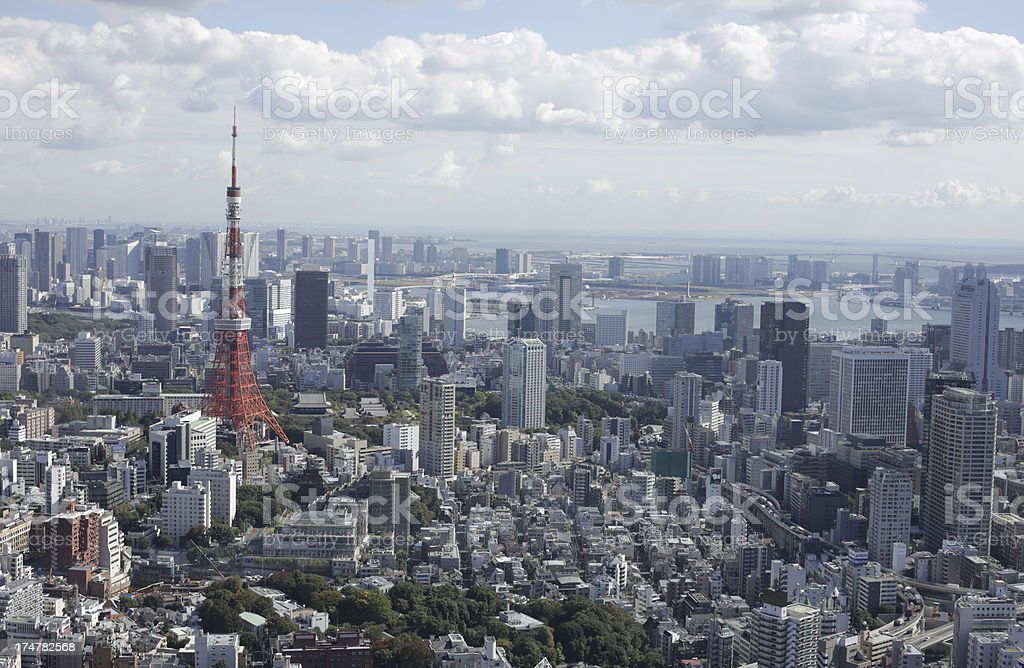 Tokyo Tower in Minato Ward and Urban Skyline, Japan royalty-free stock photo