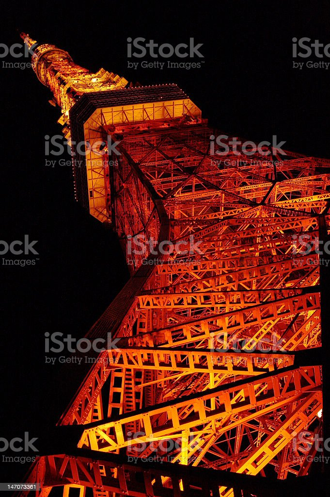 Tokyo Tower landmark at night in Perspective royalty-free stock photo