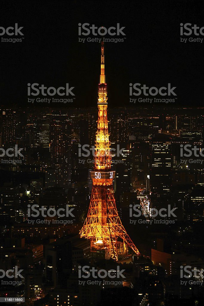 Tokyo Tower night vertical royalty-free stock photo