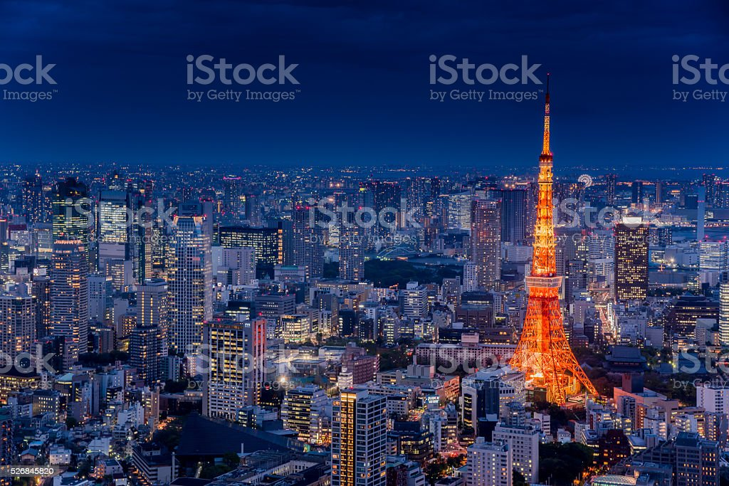 tokyo tower night view stock photo