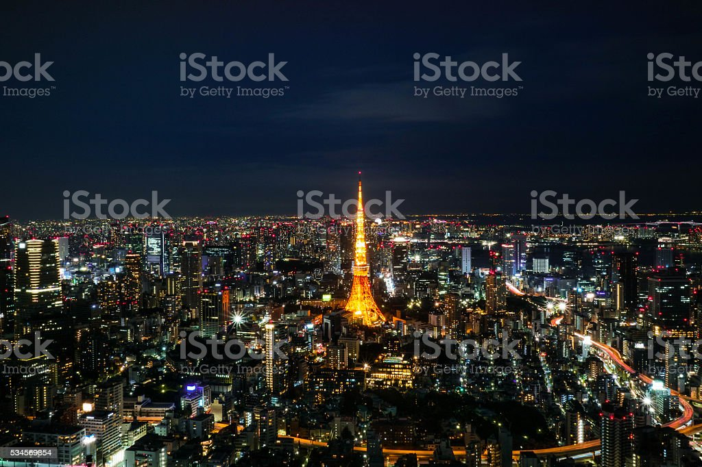 Tokyo Tower night view. stock photo