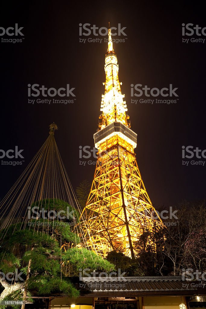 Tokyo Tower over traditional Japanese House royalty-free stock photo