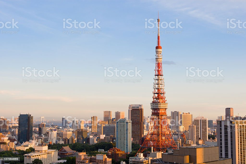 Tokyo Tower (sunset version) royalty-free stock photo