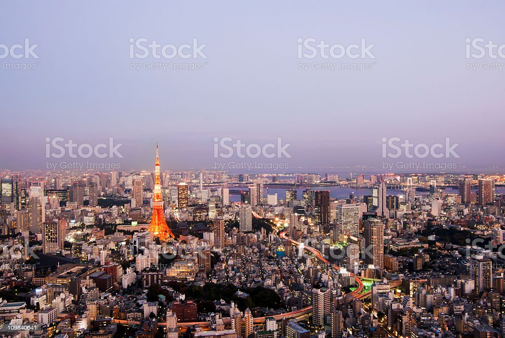 Tokyo Tower twilight view stock photo