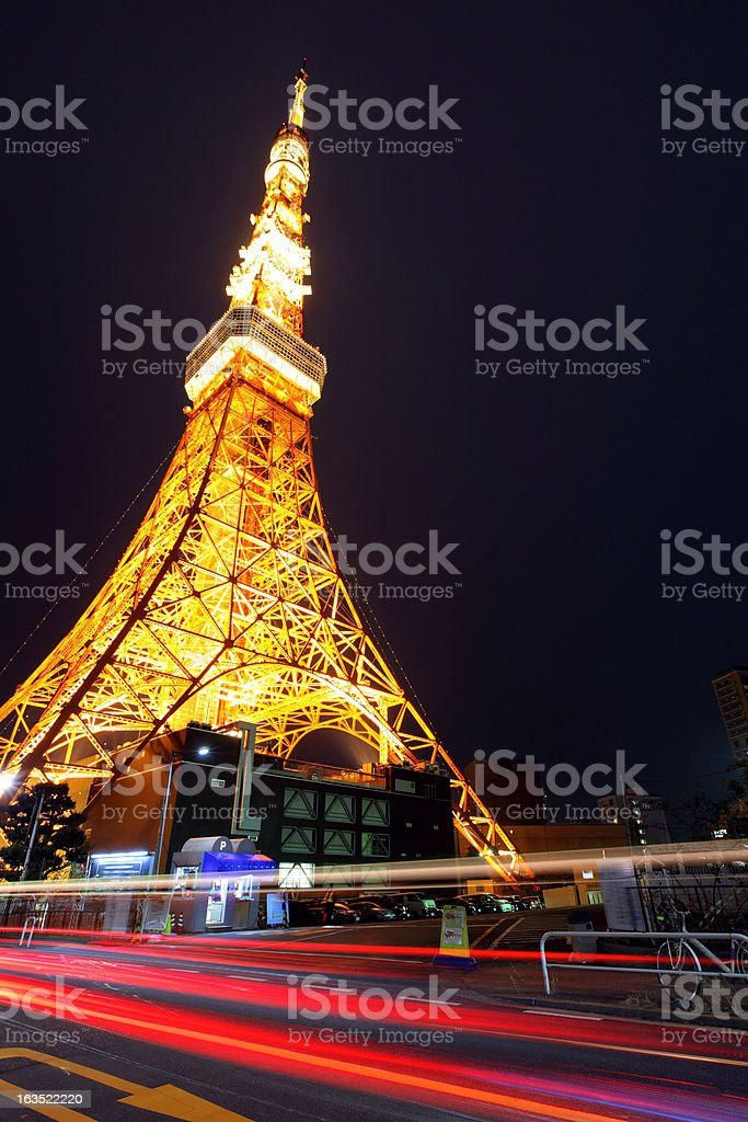Tokyo Tower with traffic trail royalty-free stock photo