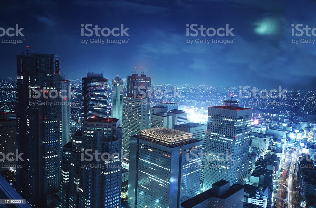 Tokyo Towers in moonlight royalty-free stock photo