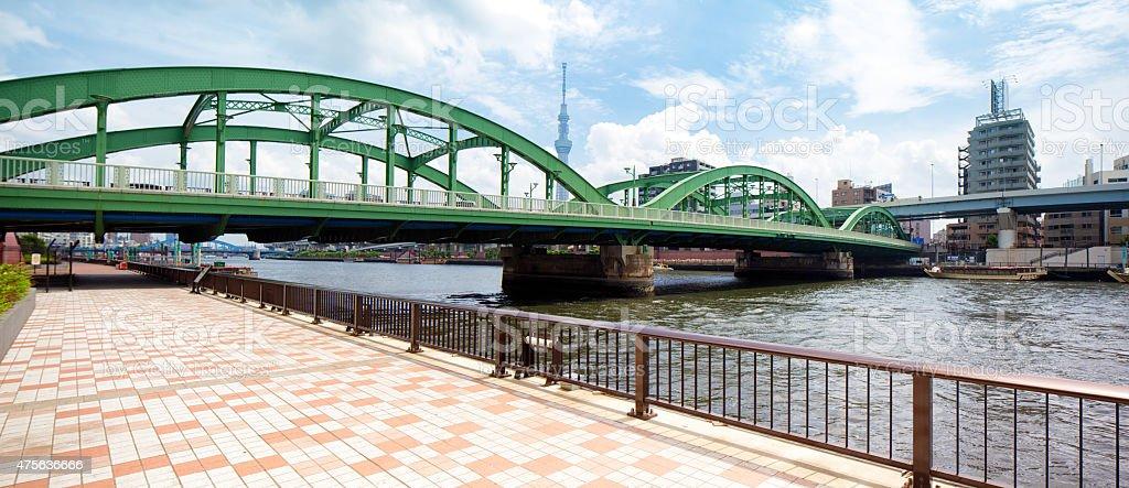 Tokyo Umaya bridge panorama with Sumida river and Skytree stock photo