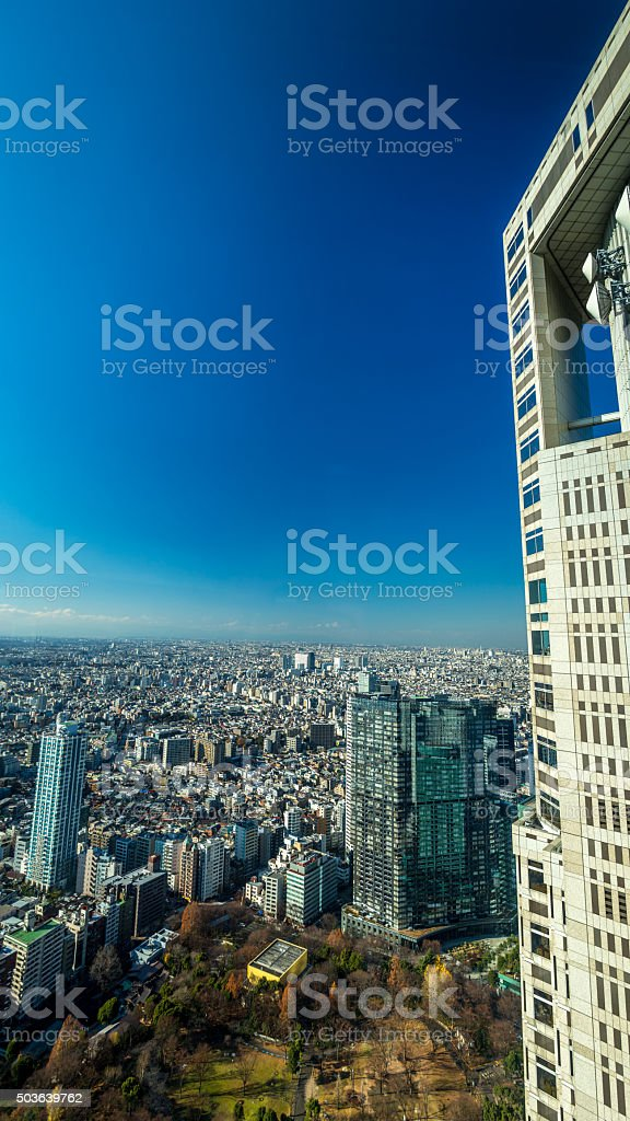 Tokyo view from Tokyo Metropolitan Government Building stock photo